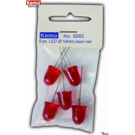 LED Ø 10mm clear-red approx. 5 pieces