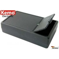 Double wall black plastic case with battery box for incorporation of a 9 V/DC compound battery or two 1,5 V/DC minicells.