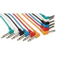 CABLE PATCH PROFESSIONNEL 6.35mm MONO 90° VERS 6.35mm MONO 90° (