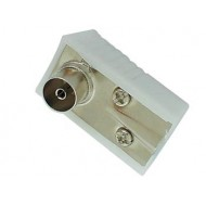 CONECTOR TV ACODADO 9.5mm/2.3mm - HEMBRA - BLANCO