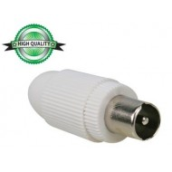 CONECTOR TV DE PLÁSTICO 9.5mm/2.3mm - MACHO - BLANCO