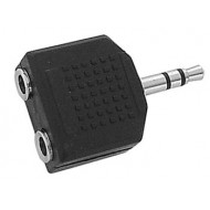 DUAL FEMALE 3.5mm STEREO JACK TO MALE 3.5mm STEREO JACK