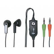 MULTIMEDIA EARPHONES WITH CLIP-ON MICROPHONE AND VOLUME CONTROL